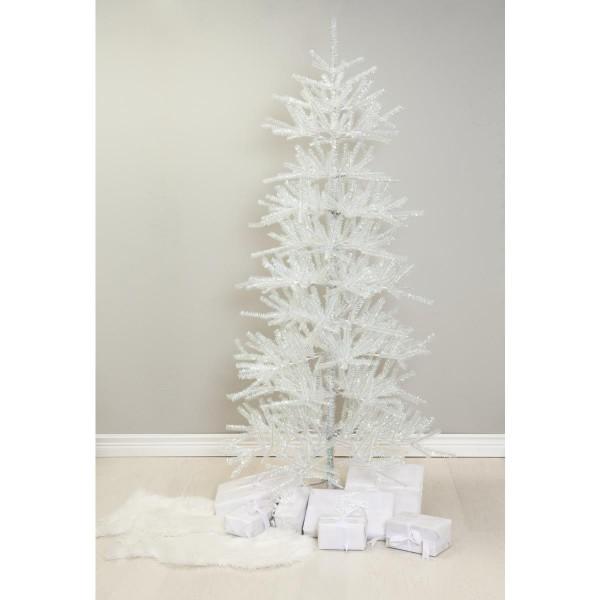 """Weihnachtsbaum """"Sparkle"""" - H: 210cm, D: 113cm - Farbe: weiß glitzernd - mit Metallfuss - outdoor"""
