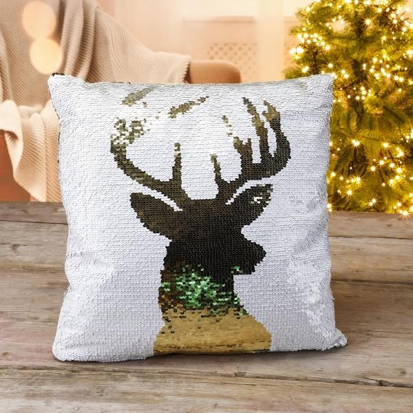 Pailletten Kissen mit Hirsch Design - Weihnachtskissen - 40 x 40cm - weiß