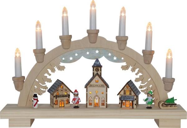 "LED-Fensterleuchter ""Dassel"" 9 warm white LED, Material: Holz, Farbe: natur, ca. 29 cm x 43 cm, Trafo oder Batterie Vierfarb-Karton"