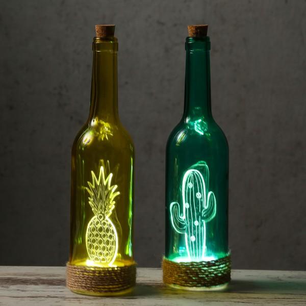 """Farbige Glasflasche """"Kaktus"""" mit LED - Seil - Deko - am Flaschenboden mit 4 LED"""