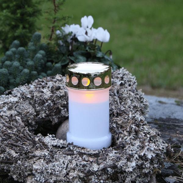 """LED Novenkerze """"Serene"""" - Grabkerze - flackernde gelbe LED - H: 14cm - weiß/gold - 12er Set"""