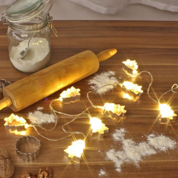 LED Lichterkette mit silbernen Baum Backförmchen - 8 warmweiße LED - Batteriebetrieb - L: 1,4m
