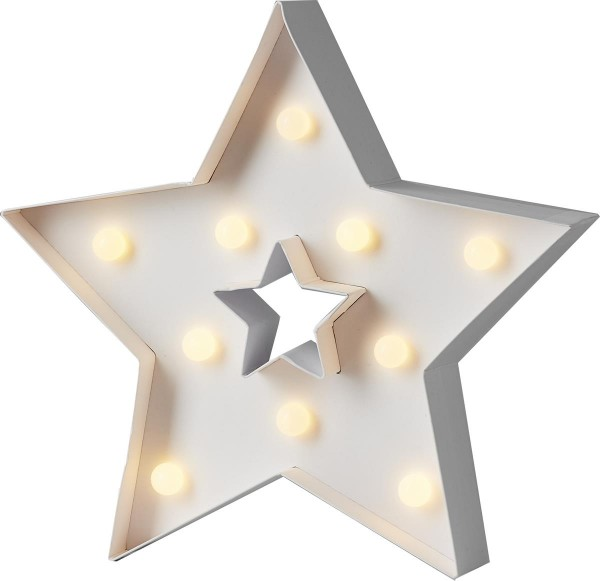 "LED-Leuchtstern ""Papyruz"" - 10 warmweiße LEDs - H: 26cm - batteriebetrieben - Timer"