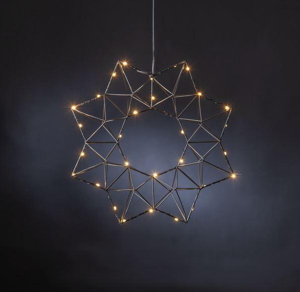 "LED-Drahtstern ""Edge"" - hängend - 30 warmweiße LEDs - Ø: 40cm - schwarz"