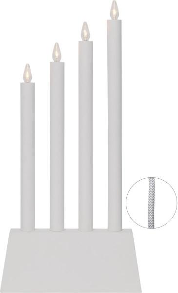 """LED-Fensterleuchter """"Quattro"""" - 4flammig - warmweiße LEDs - H: 55cm - Schalter - Weiß"""