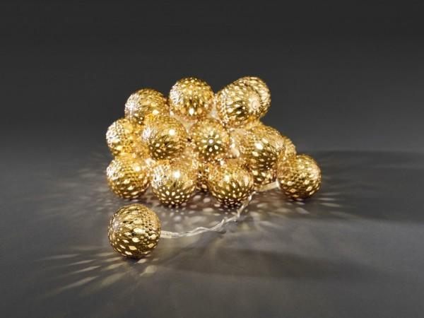 LED-Dekolichterkette - 3,00m - 24x Warmweiß - Ø 4cm - Gold - transparentes Kabel