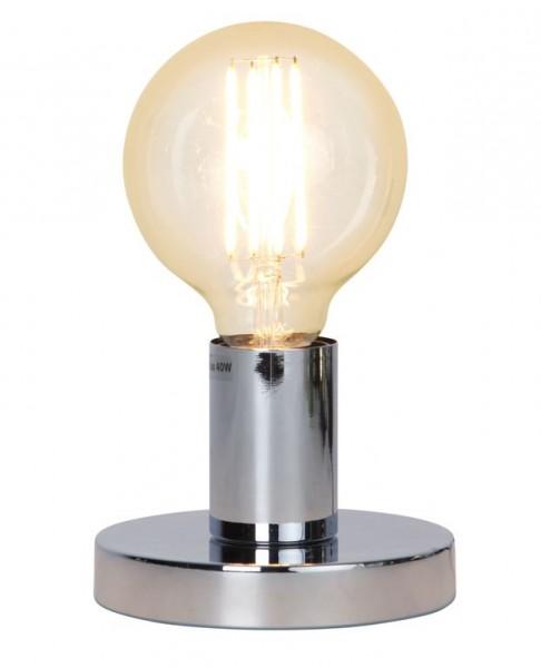 Lampenhalterung | GLANS | E27 | →12cm x ↑8,5cm | 180cm Kabel | Röhre kurz | stehend | Silber-Chrom
