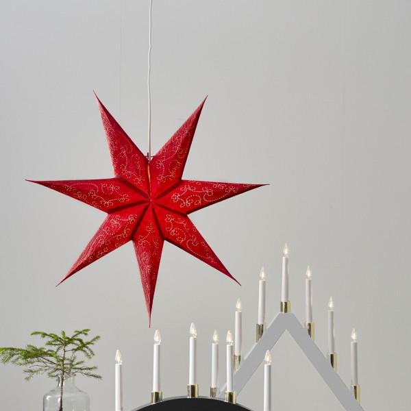 Papierstern Decorus - hängend - 7-zackig - D: 63cm - rot
