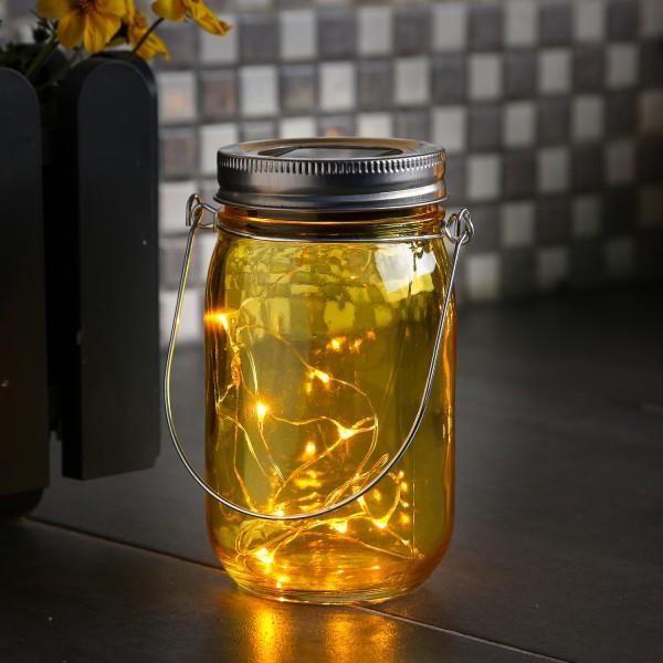 LED Solarglas - Windlicht - LED Drahtlichterkette - Lichtsensor - Aufhänger - H:14cm - D: 8cm - gelb