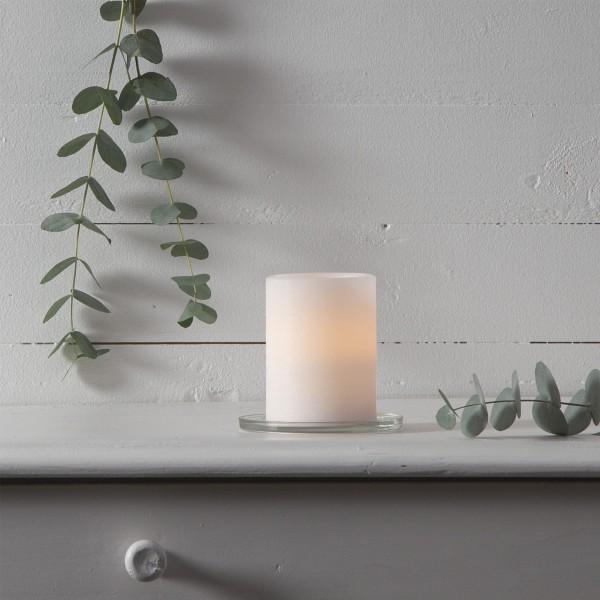 LED Kerze SHARP - Echtwachs - gelb flackernde LED - Timer - H: 10cm, D: 7,5cm - creme