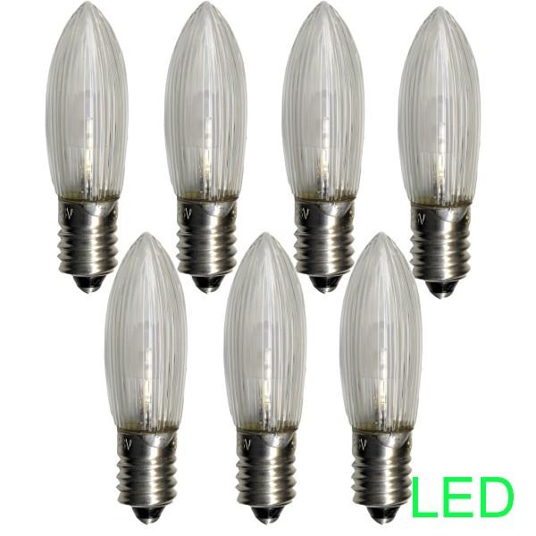 LED-Leuchtmittel |E10 | 10-55V | 0,2W | Warmweiß 2100K | klar | 7er Set