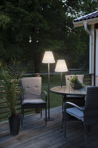 Garten-Beistelllampe - 150cm - weißer 28cm Lampenschirm - E27 Fassung max. 25W - IP44 wasserfest 1