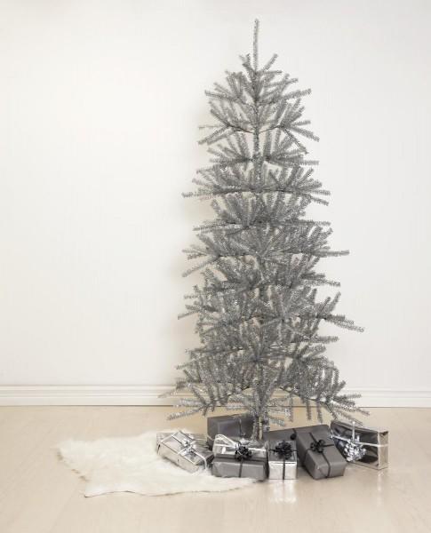 """Weihnachtsbaum """"Sparkle"""" - H: 210cm, D: 113cm - Farbe: silber glitzernd - mit Metallfuss - outdoor"""