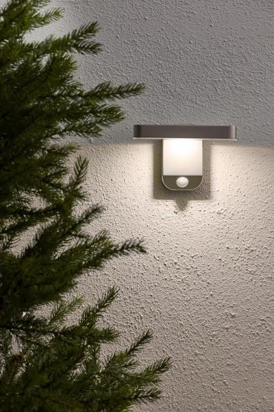 Gartenleuchte | Solar | edel und modern | →12cm x ↑60cm | 200 Lumen High-Power | Wandmontage | warmweiss | Bewegunsmelder | Timer