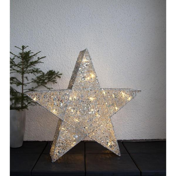 "LED-Stern mit Pailletten ""Sequini"" - 40 warmweiße LEDs - H: 70cm - silberne Pailletten - outdoor"