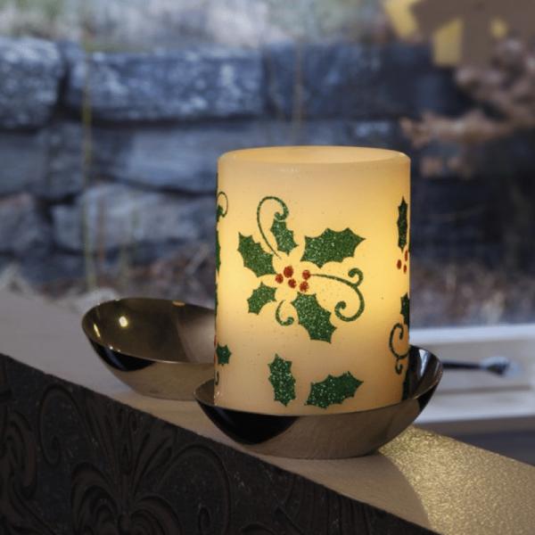 LED-Kerze | Echtwachs | Myrt | flackernde LED | Timer | Zweige | ↑10cm