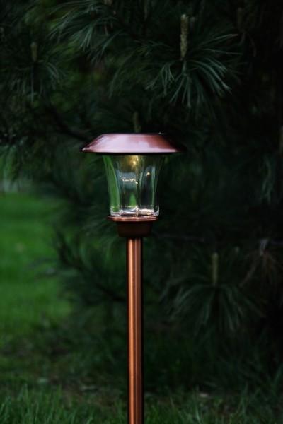 "LED-Solar-Wegleuchte - ""Granada"" - kupferfarben - →15 x ↑48cm - 1x Warmweiß - Dämmerungssensor"