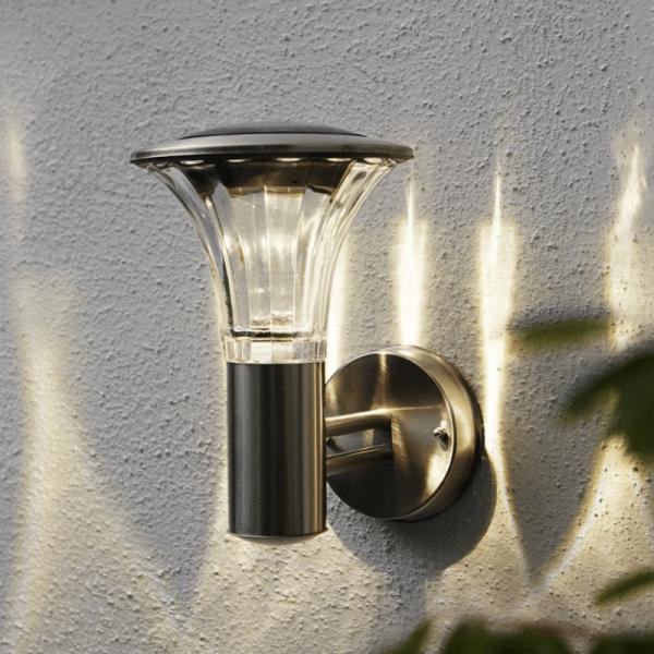 "LED Solar Wandleuchte ""Nice"" - Edelstahl - H: 25cm - 60/15Lm Umschalter 3h - Dämmerungssensor"