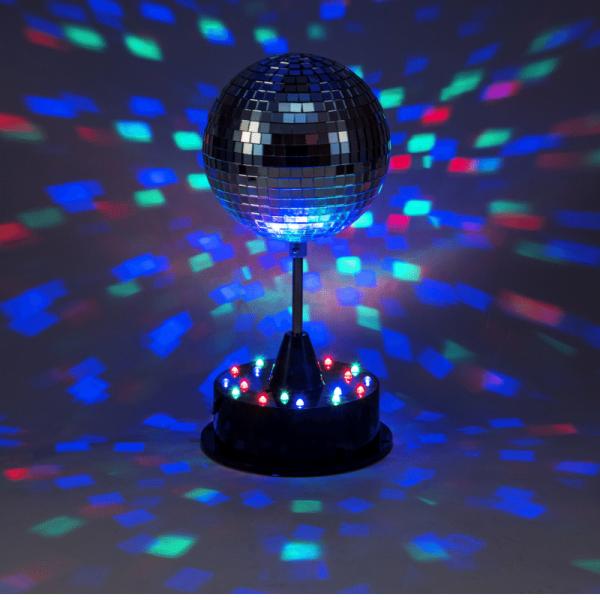 LED Spiegelkugel 13cm mit Standfuß - bunte LEDs - Batterie und USB Betrieb