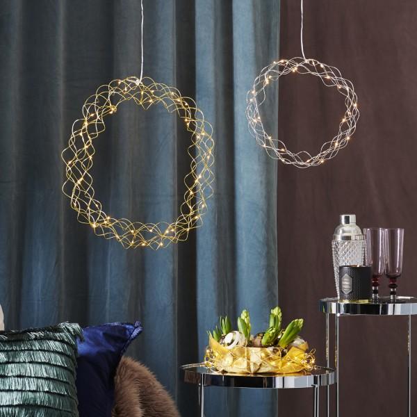 LED Lichtkranz Curly - 30 warmweiße LED - D: 30cm - Metall - silber