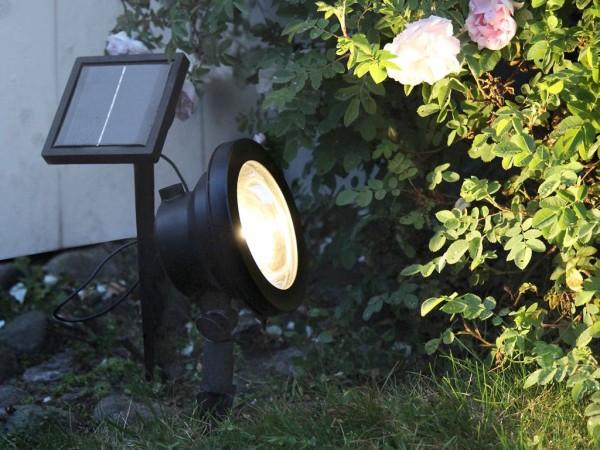 Gartenspot | Solar | Powerspot mit 30 Lumen | →15cm x ↑26cm | 1 warmweisse LED | mit Lichtsensor