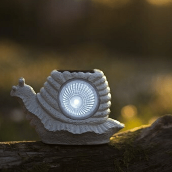 "LED Solar Gartenfigur ""Schnecke"" - 1 kaltweiße LED - H. 9cm - Dämmerungssensor - grau"