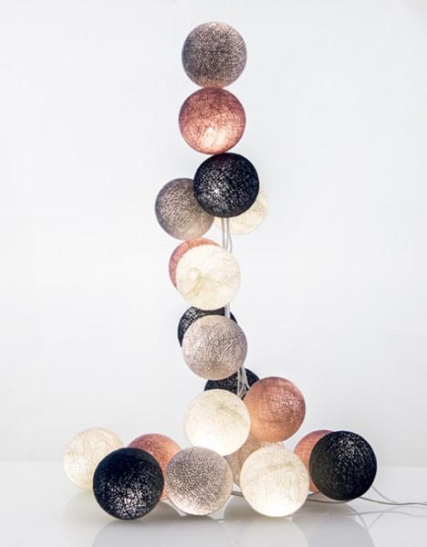 good moods* WUNDERBARE JAHRE 35 - Ball-Lichterkette mit 35 Stoffkugeln - 35 warmweiße LEDs