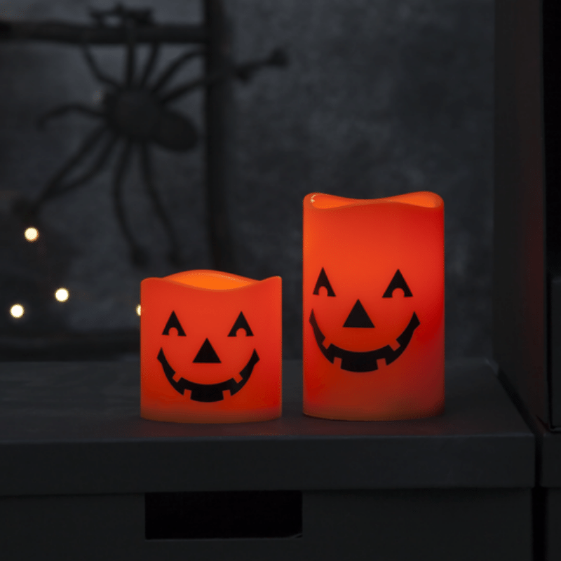 LED Kerzen Halloween - 2 gelbe LED - D: 7-5cm H: 11-5cm und 7-5cm - Batterie - orange - 2er Set