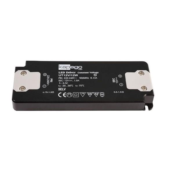 Deko-Light Netzgerät, FLAT, CV, UT12V/12W, spannungskonstant, 220-240V AC/50-60Hz, 12V DC, 0-1000 mA