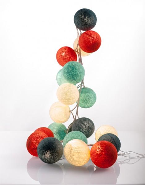 good moods* SOMMER SORBET - Ball-Lichterkette mit 20 Stoffkugeln - 20 warmweiße LEDs -Geschenkkarton