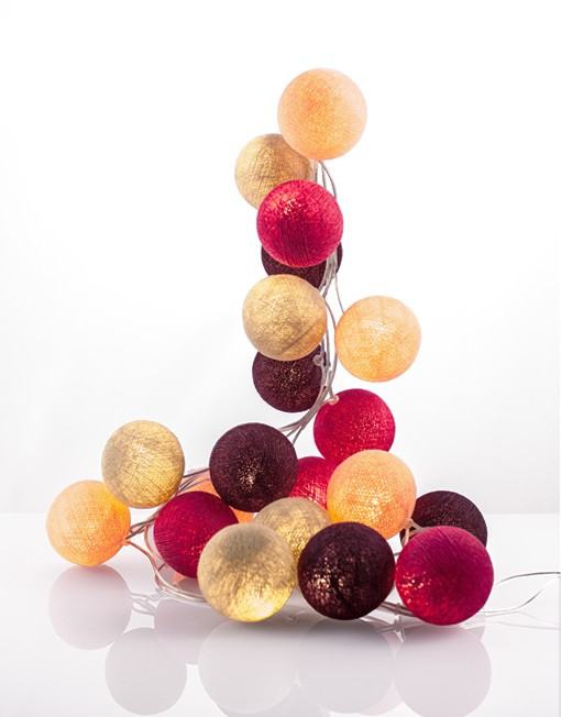 good moods- SWEETS FOR MY SWEET - Ball-Lichterkette mit 35 Stoffkugeln - 35 warmweisse LEDs