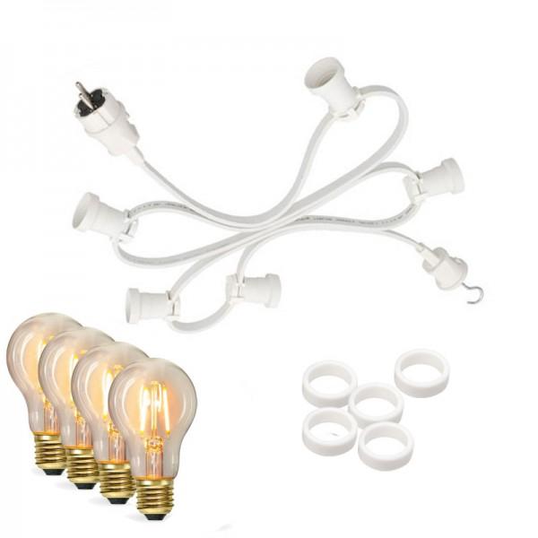 Illu-/Partylichterkette 30m | Außenlichterkette weiß, Made in Germany | 50 Edison LED Filamentlampen