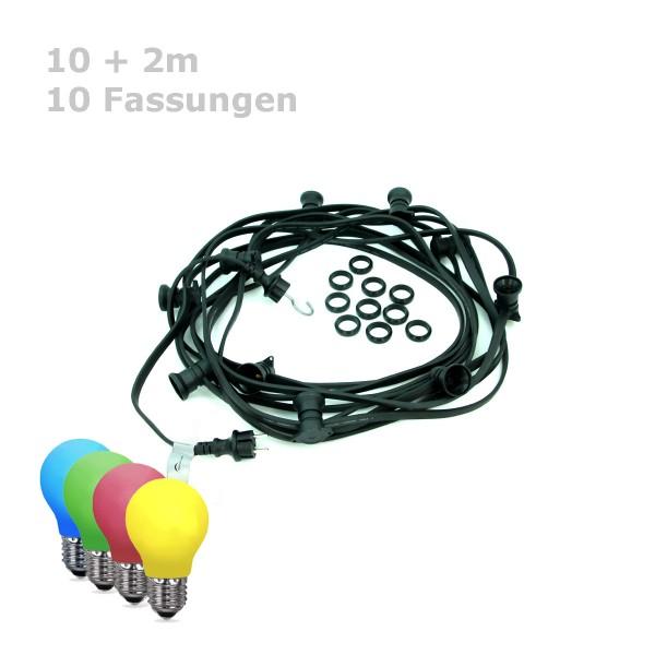 ILLU-Lichterkette BLACKY - 10m - 10xE27 | IP44 | bunte LED Tropfenlampen | SATISFIRE