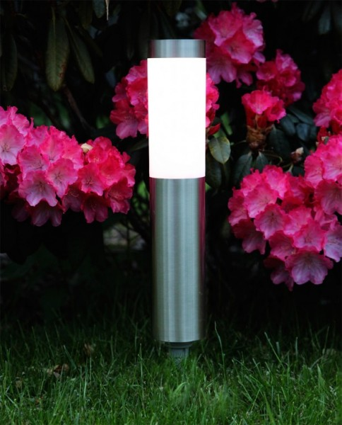 "LED-Solar-Wegleuchte - ""Cordoba"" - Edelstahl - →8 x ↑40cm - 1x Warmweiß - Dämmerungssensor"