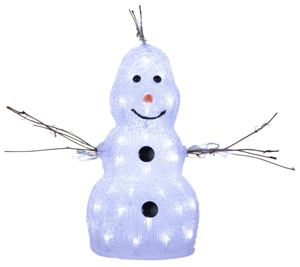 "LED-Acrylschneemann ""Crystal Snowman"" - 50 kaltweiße LED - klares Acryl - H: 38cm - outdoor"