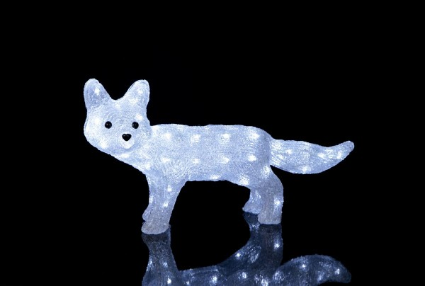 """LED-Acrylfuchs """"Crystal Fox"""" - 60 kaltweiße LED - klares Acryl - H: 30cm - outdoor - Fuchs Figur"""