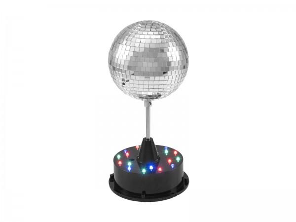 LED Spiegelkugel 13cm mit Standfuß - bunte LEDs - Inklusive Netzteil