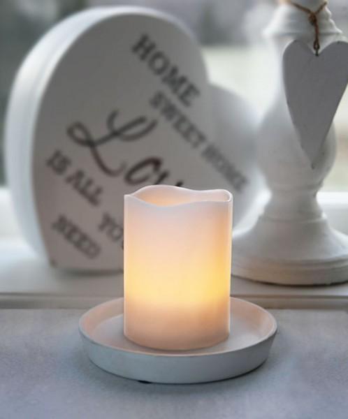 LED-Kerze | Echtwachs | Wave-Design | flackernde LED | Timer | Creme | →7,5cm | ↑10cm