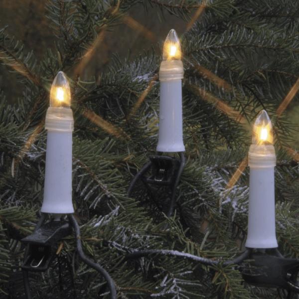 Kerzenkette - 16 warmweiße Kerzen - Outdoor - Strang - E10 Fassung - H: 11,5cm, L: 7,5m - weiß
