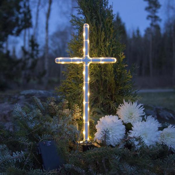 LED Grabkreuz 41cm - weißes Kreuz - 24 warmweiße LED - Batteriebox ca. 1 Monat/Satz - Timer