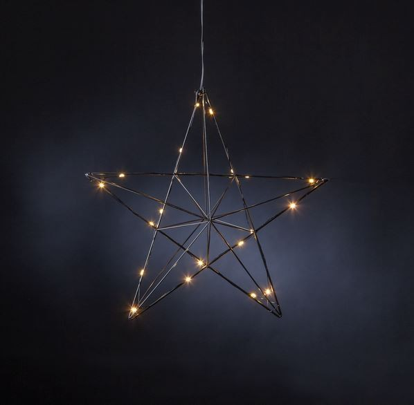 "LED-Drahtstern ""Line"" - hängend - 20 warmweiße LEDs - H: 36cm, B: 38cm - schwarz"