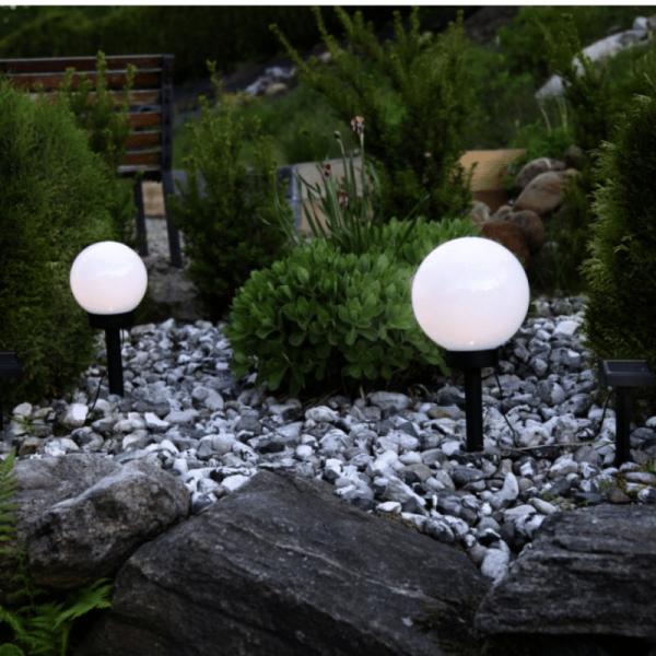 "LED Solar Gartenkugel ""Globus"" - Erdspieß - H: 35cm, D: 20cm - warmweiße LED - Dämmerungssensor"
