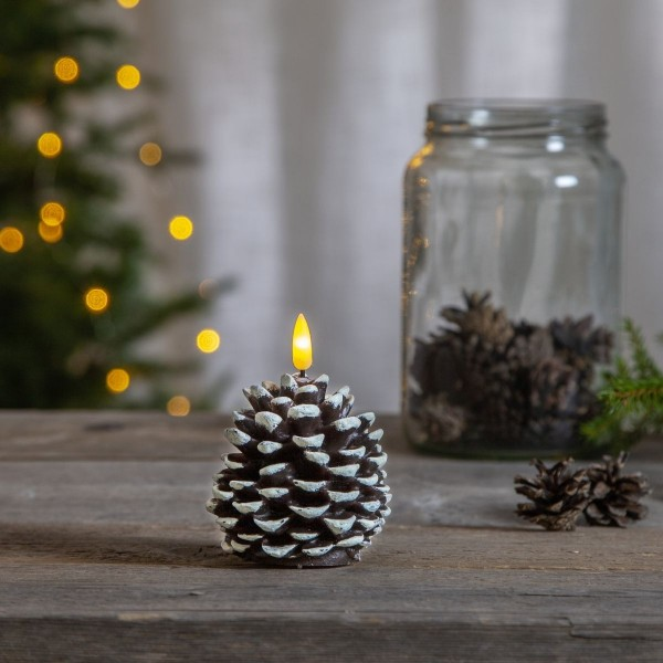 "LED Kerze ""Kieferzapfen"" - warmweiße LED - H: 10,5cm, D: 8cm - Timer - braun"