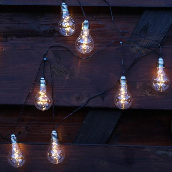 LED Solar Lichterkette GLOW - 10 transparente Glühbirnen mit Drahtlichterkette - warmweiß - L: 4,5m