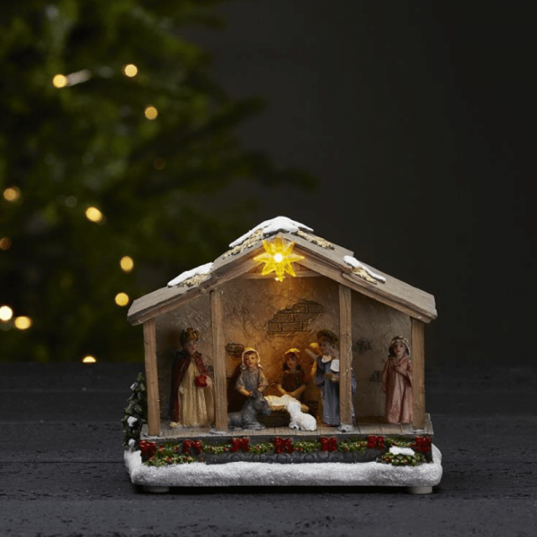 "LED-Krippe ""Nativity"" - 3 warmweiße LED - H: 15cm - Batteriebetrieb - Timer - bunt"