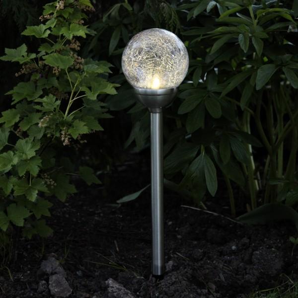 LED Solarkugel mit Bruchglas Optik - Gartenleuchte - H: 45cm - Dämmerungssensor - warmweiß