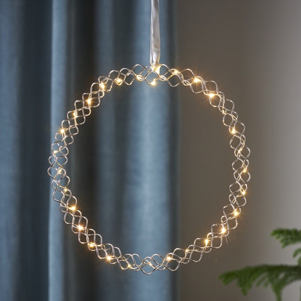 LED Lichtkranz Hoop - 30 warmweiße LED - D: 30cm - Metall - Batteriebetrieb - Timer - silber
