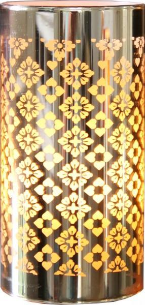 """LED Windlicht """"Gull"""" - goldene Spiegelfolie - warmweiß - Timer - H:15cm D:7,5cm"""