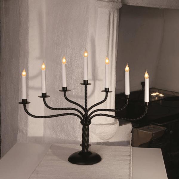 """Kerzenleuchter """"Brede"""" - 7 Arme - warmweiße Glühlampen - H: 50cm, L: 59cm - Schalter - schwarz"""