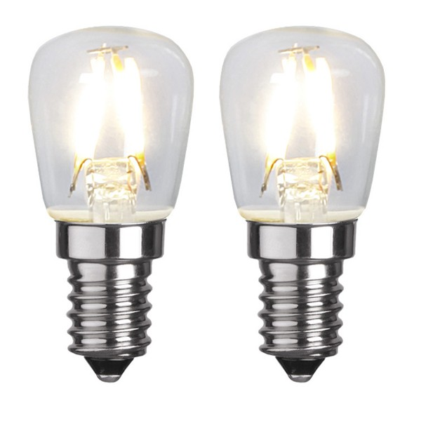 LED Leuchtmittel 2er Pack - FILAMENT E14 - 230V 1,3W - WW 2700K - 110lm - klar